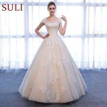 SL 307 encantador a linha de manga curta vestidos de noiva rendas apliques praia vintage suli vestido de casamento da mulher vestidos de casamento para a noiva