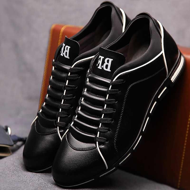 Ayakk.'ten Erkek Rahat Ayakkabılar'de Erkekler rahat ayakkabılar moda 2019 erkek deri ayakkabı büyük boy 39 48 dantel up katı İlkbahar/sonbahar ayakkabı erkek spor ayakkabı kauçuk