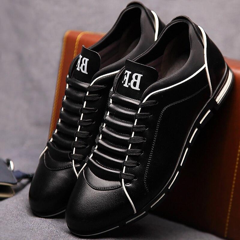 Hommes occasionnels chaussures de mode 2019 mâle chaussures en cuir Grande taille 39-48 dentelle-up solide Printemps/Automne chaussures hommes sneakers en caoutchouc