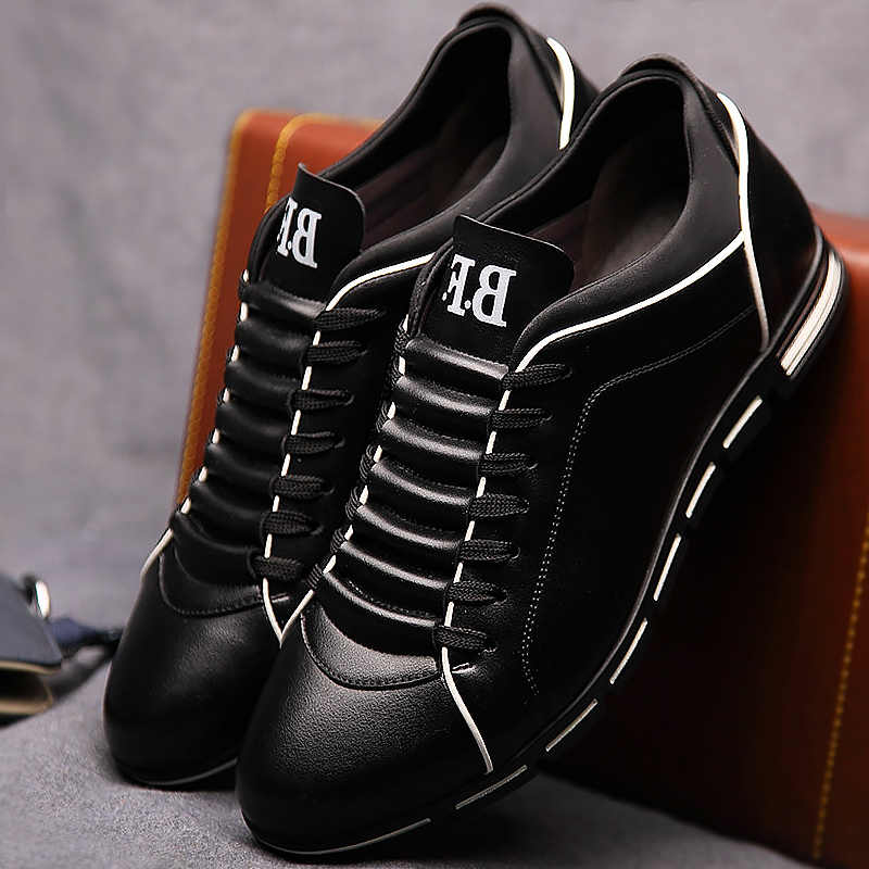 Zapatos casuales de los hombres de moda 2019 hombre zapatos de cuero zapatos de gran tamaño 39-48 de encaje-lisa, Primavera/zapatos de otoño zapatos de los hombres zapatillas de deporte de goma