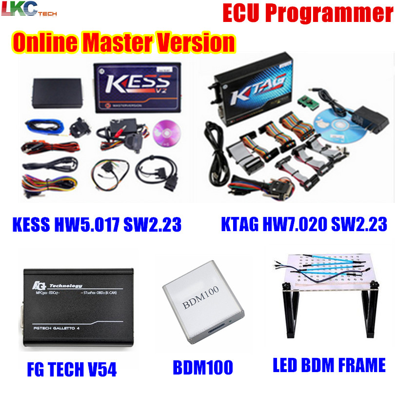 Оптовая продажа! Интернет-KESS V5.017 V2.23 + KTAG V7.020 V2.23 + FG TECH V54 + BDM100 + светодиодный BDM кадр OBD2 менеджер тюнинг Комплект ЭКЮ программист