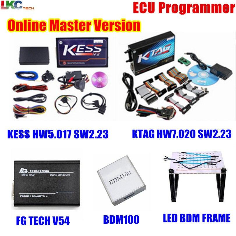 Online KESS V5.017 V2.23 + KTAG V7.020 V2.23 + FG TECH V54 + BDM100 + LED BDM RAHMEN Obd2-manager Tuning Kit ECU Programmierer