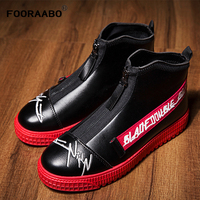New Men Casual Shoes Breathable 2019 Spring Autumn Pu Leather Men High Top Shoes Fashion Hip Hop Shoes Men Sneakers Red Black