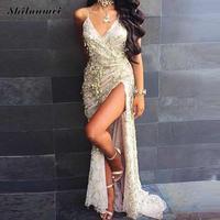 Ukrian Phụ Nữ Maxi Dress Sexy Vàng Sequined Tua Dài Đảng Dresses sâu V cổ front slit Tầng Length Empire Club Dresses xl
