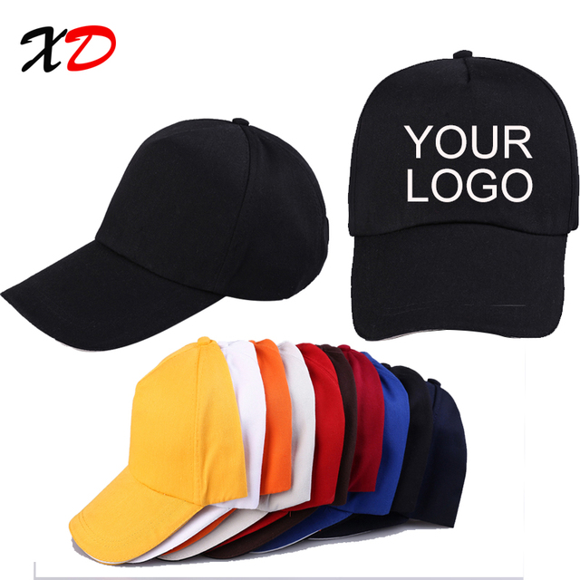 Custom baseball cap print logo text photo embroidery gorra casual solid  hats pure color black cap fd2e458230b