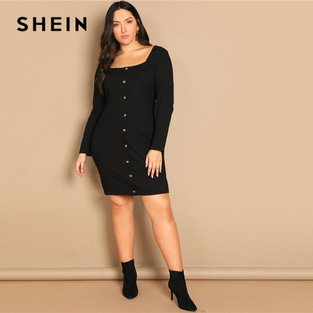 SHEIN Black Buttoned Long Sleeve Casual Plus Size Bodycon Short Dress Women Spring Office Stretchy Slim Fit Mini Dress 3