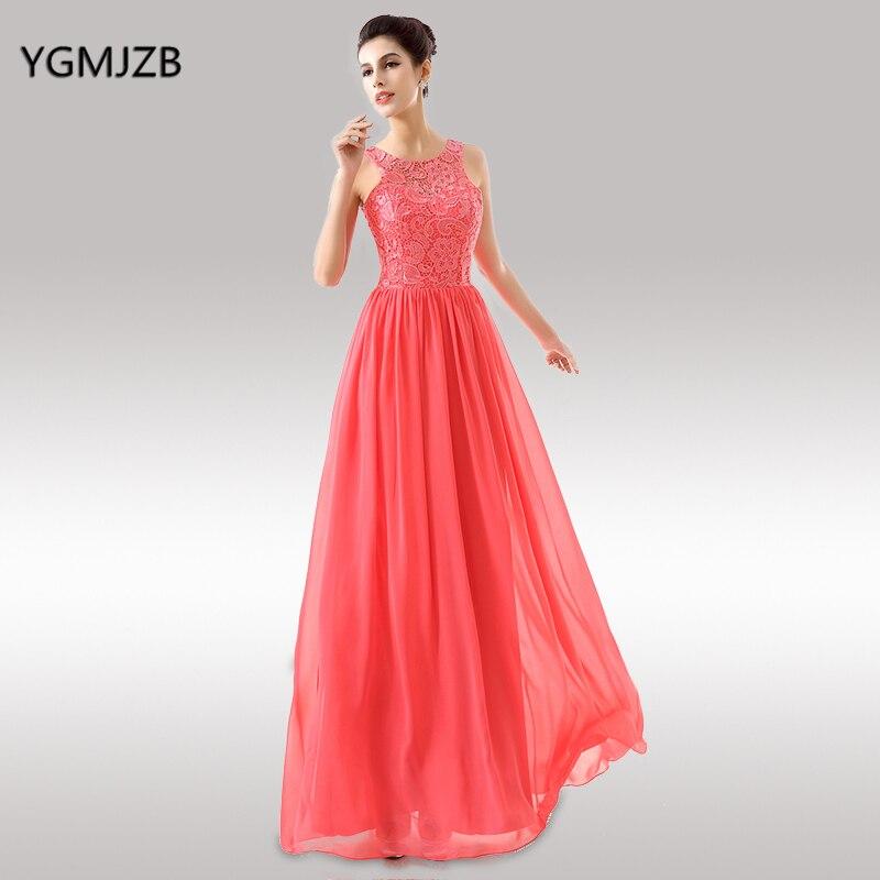 Pink Bridesmaid Dresses A Line O Neck Floor Length Lace Chiffon Cheap Wedding Party Dresses Plus Size Long Bridesmaid Dress 2018