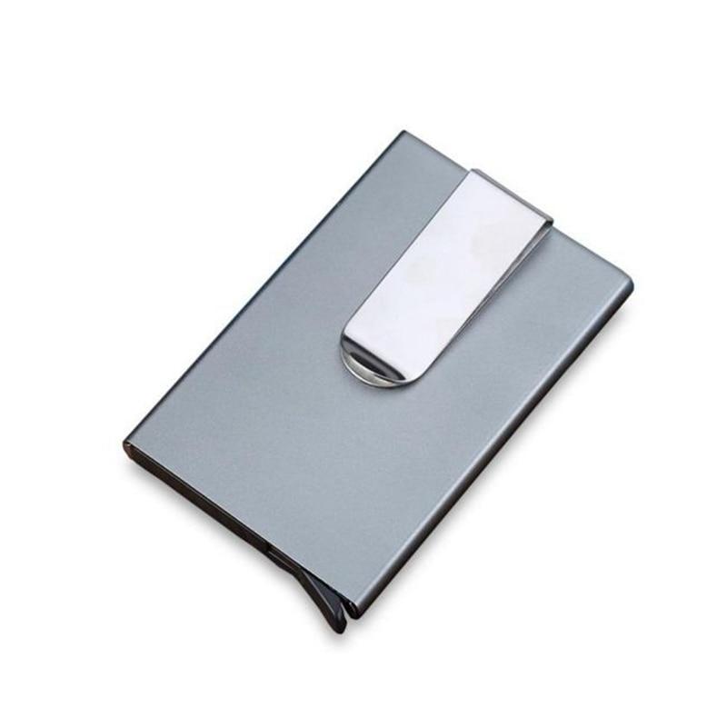 Antitheft Rfid Id Bank Card Houders Met Cash Clip Metal Klik Slide Kaarthouder Voor Mannen Vrouwen Business Rfid Card Protector Case Grade Producten Volgens Kwaliteit