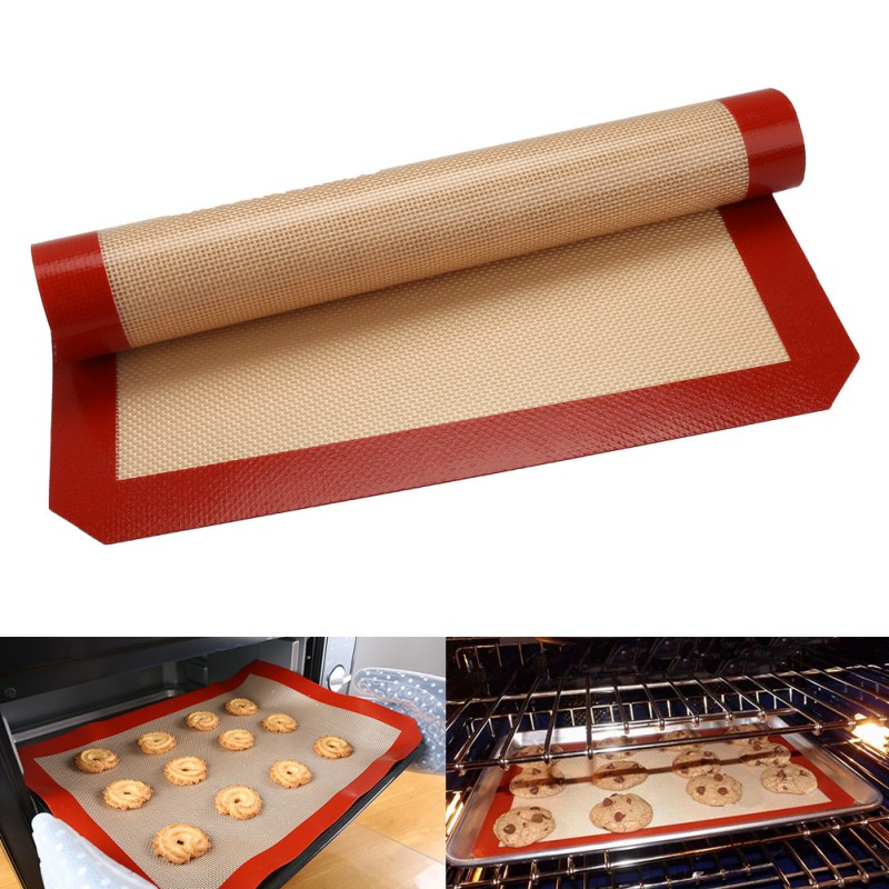 Symbol Of The Brand Non-stick Silicone Baking Mat Pad 42*29.5cm Baking Sheet Glass Fiber Rolling Dough Mat Large Size For Cake Cookie Macaron For Sale Bbq