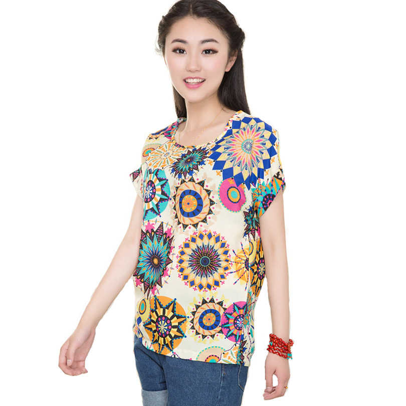 Musim Panas Wanita Bunga Matahari Burung Sifon Bulu Cetak Blus Stripe Kemeja Kotak-kotak Cross Cinta Blus Lengan Pendek Biru Lipstik Kemeja