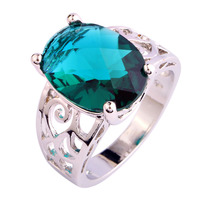Awesome Unisex Retro Style  Solitaire Green Topaz 925 Silver Ring Oval Cut Size 7 8 9 10 Wholesale Free Shipping