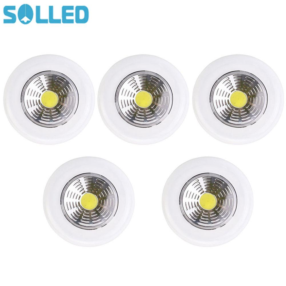 SOLLED 5PCS/Set 2W COB Pressing Type Wardrobe Light with White Light Closet Corridor Lamp Decoration