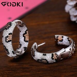 Image 4 - GODKI Luxury Leopard Design Cubic Zirconia Statement Hoop ต่างหูสำหรับงานแต่งงานดูไบต่างหูเครื่องประดับ 2019