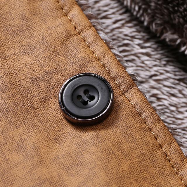 Winter Warm Faux Leather Men Solid Jacket