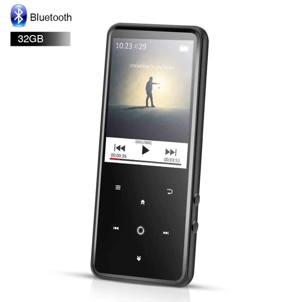 Lecteur MP3 Bluetooth 32 GB en métal avec écran couleur TFT 2.4 pouces FM/enregistreur vocal sans perte de son lecteur de musique à bouton tactile