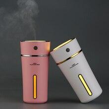 Humidificador de aire USB portátil de viaje construido en batería de litio 500mA carga rápida luz LED colorida Mini difusor de Aroma 300ML