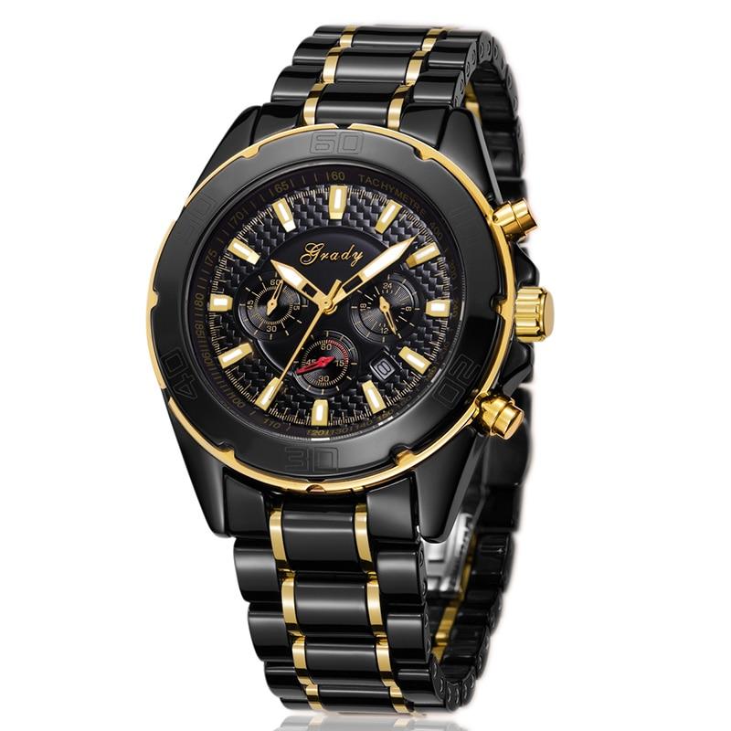 Grady New Arrival Big Round Dial Black Ceramic Watches Men Luxury Brand 3atm Waterproof Sports Quartz Watch Free Shipping цена 2017