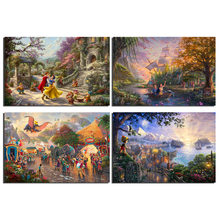 Thomas Kinkade Peter Pan Pinocchio Little Mermaid Snow White Movies Art Canvas Poster Wall Painting Modular Pictures Home Decor(China)