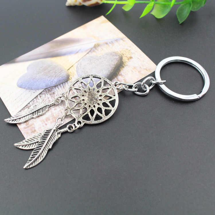 Nowy gorący starożytny srebrny Dreamcatcher brelok liść pióro pomponem łapacz snów breloczek do kluczy