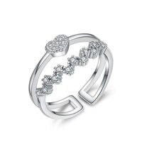 Autentico 925 Sterling Silver Anello Cuore Amore Onde di Acqua di Cristallo Regolabili Anelli Aperti Per Le Donne Del Partito Wedding Ring Jewelry