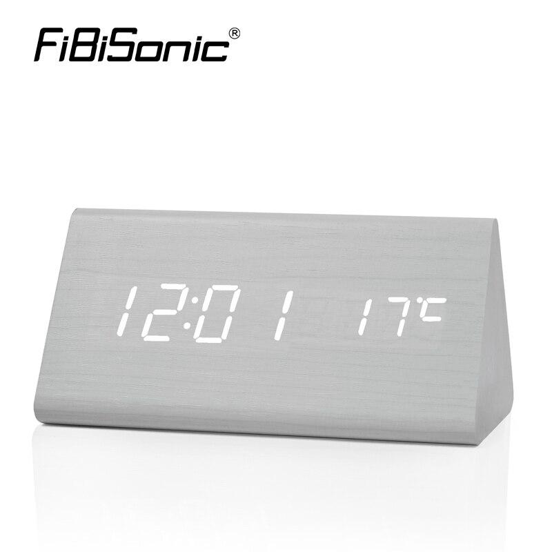 FiBiSonic Factory Modern Thermometer Desk Clocks LED Digital Alarm Clock Sound Control LED Table Clock DropShipping