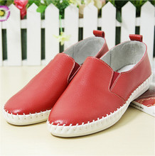 women genuine leather loafers women's shoes leisure Stitching sole shoes Woman Casual Slip on Platform Shoes Ladies Creepers
