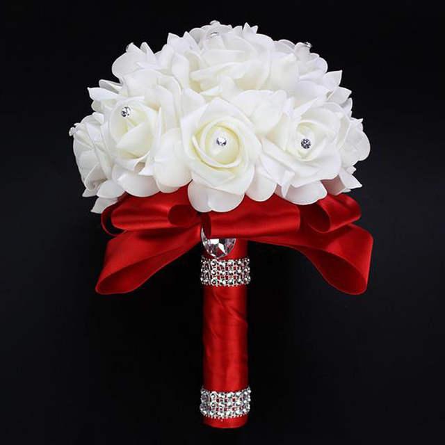 Bouquet Sposa Fucsia.2018 Elegante Royal Blue Viola Rosso Fucsia Artificiale Della Rosa