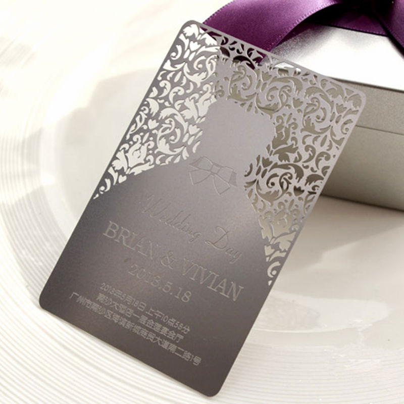 High-end metal name cards for Wedding Invitation elegant flower lace lacut cut wedding invitations set blank ppaer printing invitation cards kit casamento convite pocket