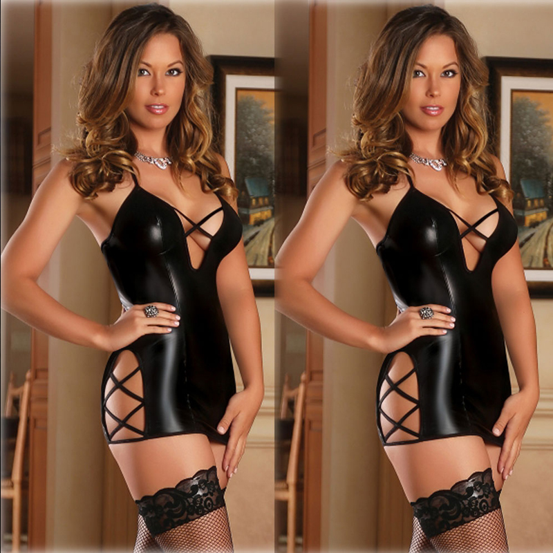 Porno Sexy PU Leather Latex Dress Women Lingerie Bandage Bodycon Skinny Underwear Black Erotic Sleepwear Night Gown