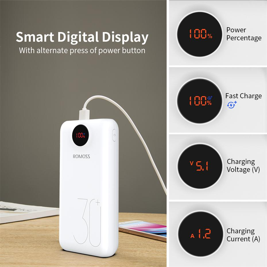 30000 мАч 26800 мАч ROMOSS SW30 Pro портативное зарядное устройство Внешний аккумулятор QC3.0 Быстрая зарядка светодиодный дисплей для телефонов и планшетов