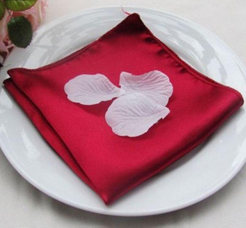 100pcs 45 x 45cm Satin Table Napkins Wedding Dinner Napkin Cloths Pocket Handkerchiefs For Home Hotel