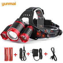 8000 lumen Camp XML-T6+2Q5 LED Headlight Headlamp Head Lamp Light Torch +2x18650 Rechargeable battery for fishing lampe frontale 2019 hot 15000lm xml t6 5 led headlamp head light lamp 4 mode torch 2x18650 battery car charger for fishing headlight z30