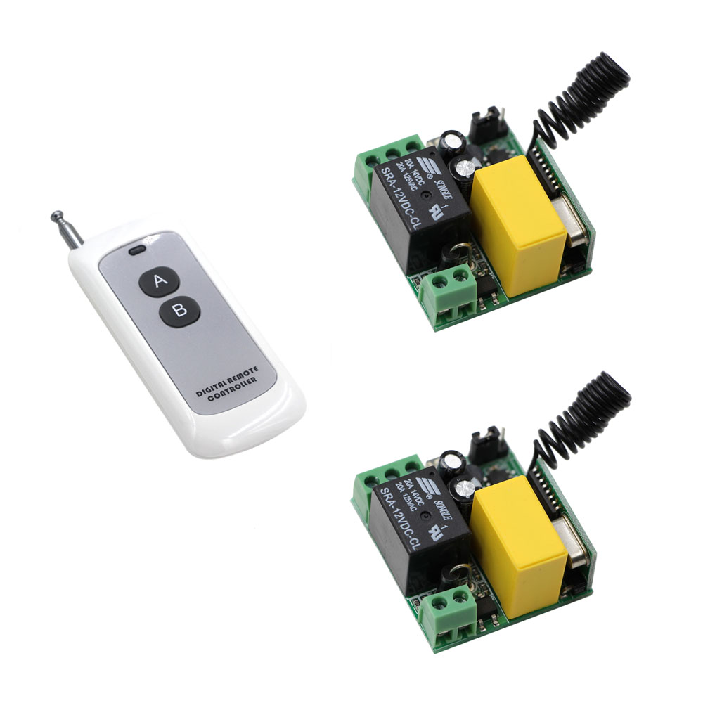 2pcs Universal Wireless Remote Control Switch AC 220V 1CH Relay Receiver Module With 1pcs 2 Channel RF Digital Remote Controller