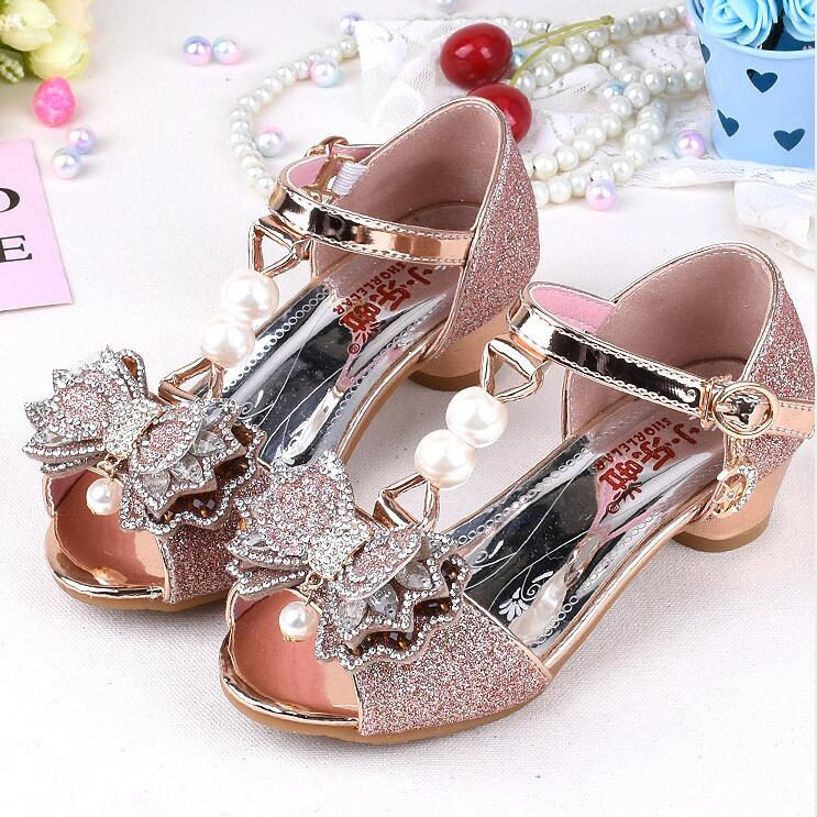Pink Sandals For Girl Summer High Heels Gilr Children Gold Sivler Sandals Princess Cute Fashion Bow Student Shoes 3 Colors
