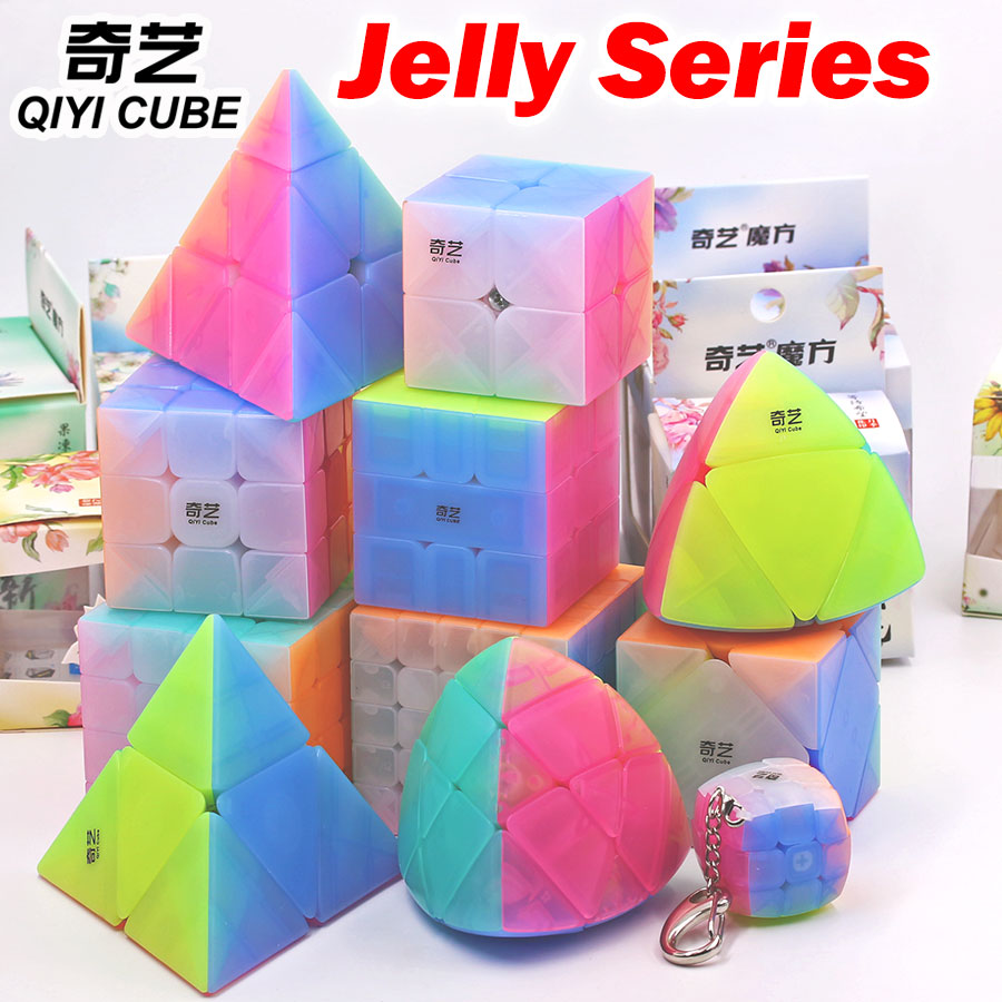Magic Cube Puzzle QiYi 2x2 3x3 4x4 5x5 Pyramorphix Pyramid Skew Marstermorphix SQ1 Mini Cube Keychain Transparent Jelly Cube Toy