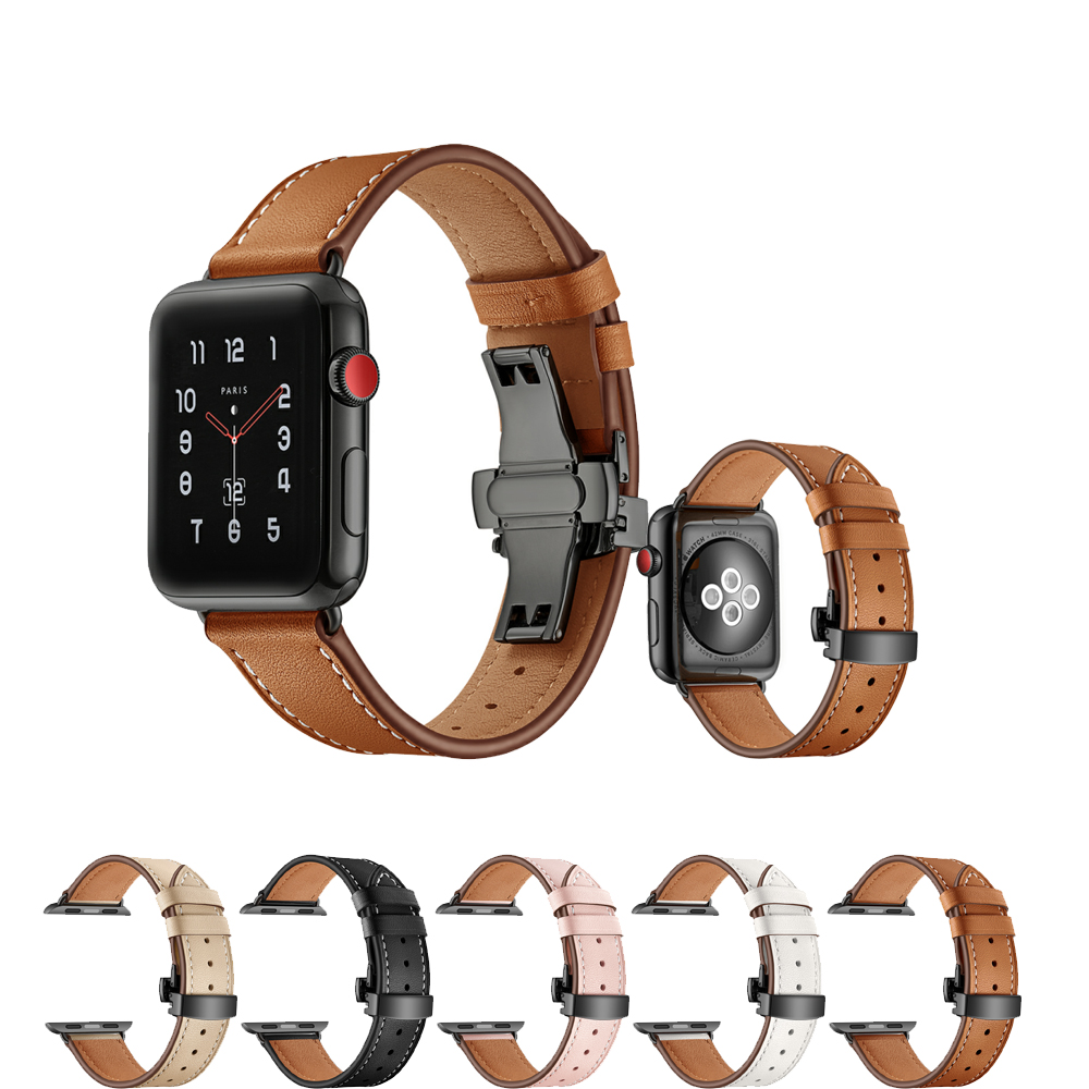 Genuine Leather Strap for Apple Watch Band 42mm 38mm Iwatch series 3 2 1 Bracelet Wrist Watchband Stainless Steel metal Buckle цена 2017
