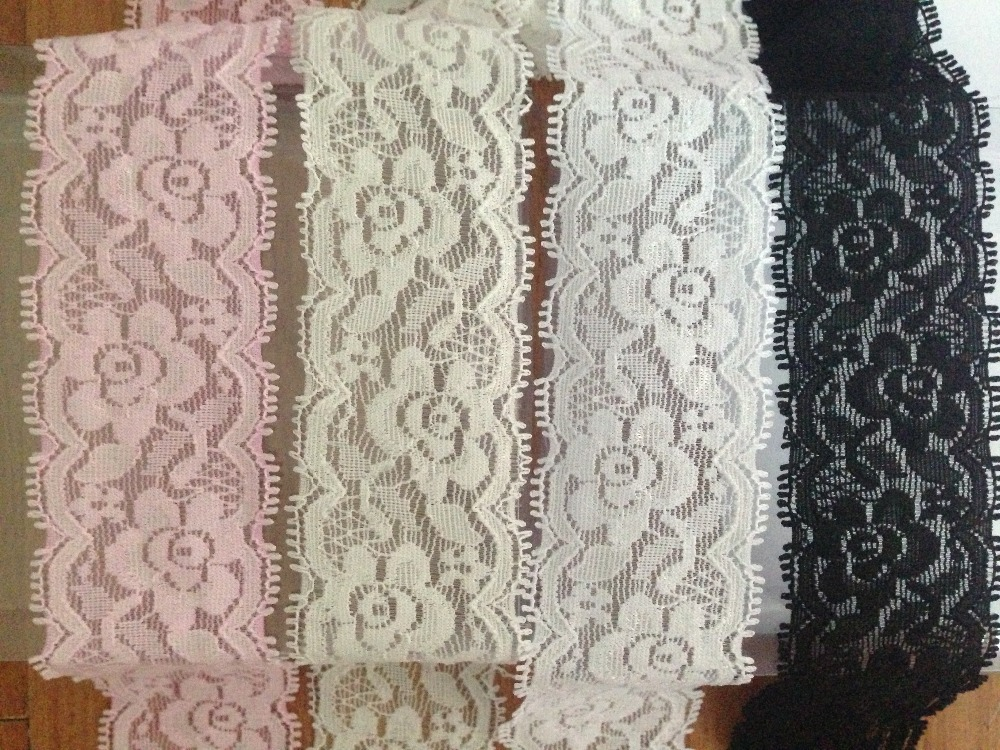 f8432b8824146 US $9.35 |Hot selling! 40mm 4cm wide 15meters white, black, ivory light  pink, royal blue, red yellow elastic stretch lace rose floral lace-in Lace  ...