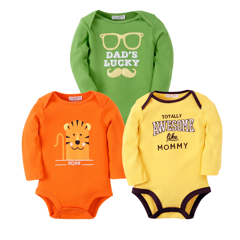 3PCS Baby Bodysuits Cotton Toddler Boy Jumpsuit Newborn Clothes Long Sleeve Infant Winter Baby Bodysuit Set Ropa Kids Clothes 3pcs newborn kids baby girl infant bodysuit stockings headband jumpsuit coming home clothes outfit set