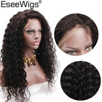 Eseewigs Kinky Cury Wig High Density Full Lace Wigs Brazilian Remy Human Hair With Baby Hair Pre Plucked Hair Line For Women