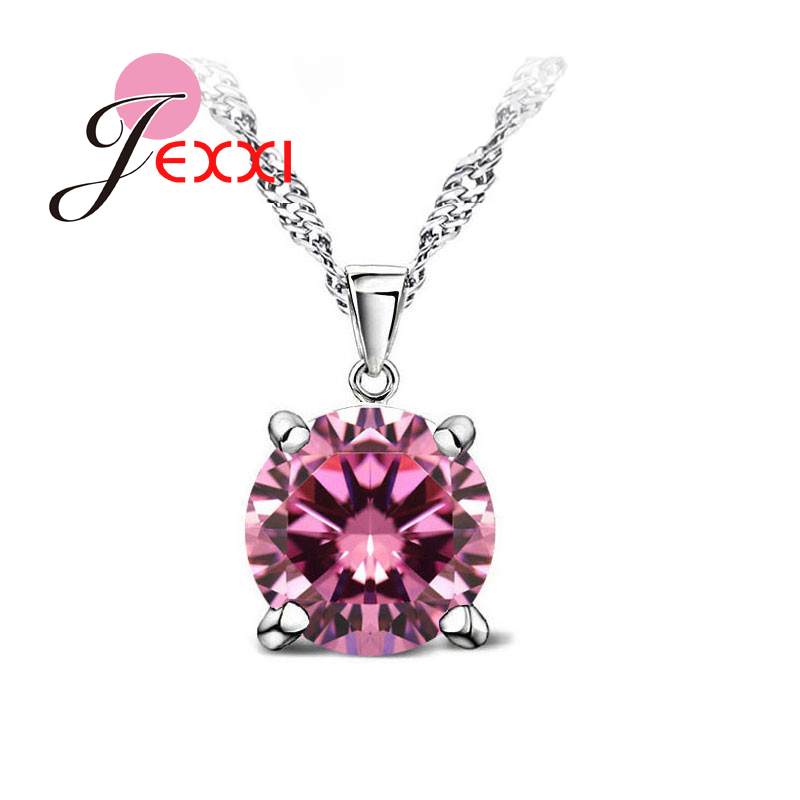 JEXXI Hot Sale 8 Colours Clear Crystal Necklace 925 Sterling Silver Round Pendant Necklace For Women Girls Party Engagement
