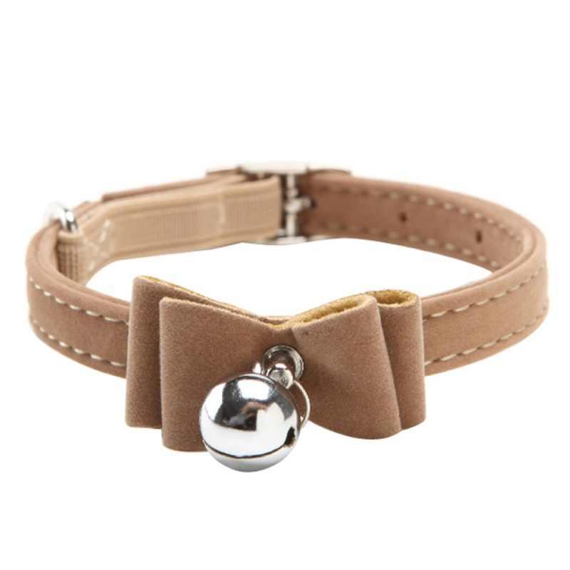 Щенок собака бантом привести регулируемый кожаный PU кошачьи ошейники с колокольчиком Цепочки и ожерелья щенок ошейники для собак с галстуком-бабочкой