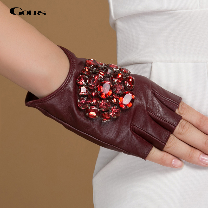 Gours Winter Genuine Leather Gloves Women Fashion Brand Black Stone Driving Fingerless 11.11 Gloves Ladies Goatskin Mittens 040