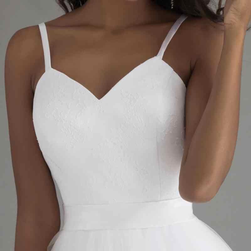 LORIE Spaghetti Strap Praia Vestidos de Casamento 2019 Vestido de Noiva Praia Simples Branco Tulle Lace Real Photo Nupcial Vestidos de Casamento