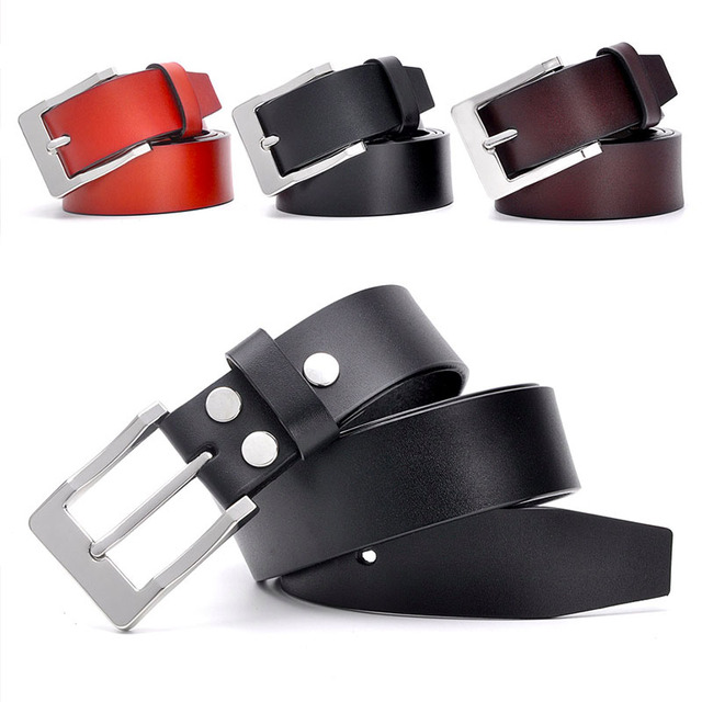 Genuine Leather Belt Luxury Solid Strap Male Belts For One layer Leather Men Pin Buckle Black Brown Color Classic Leather Belt