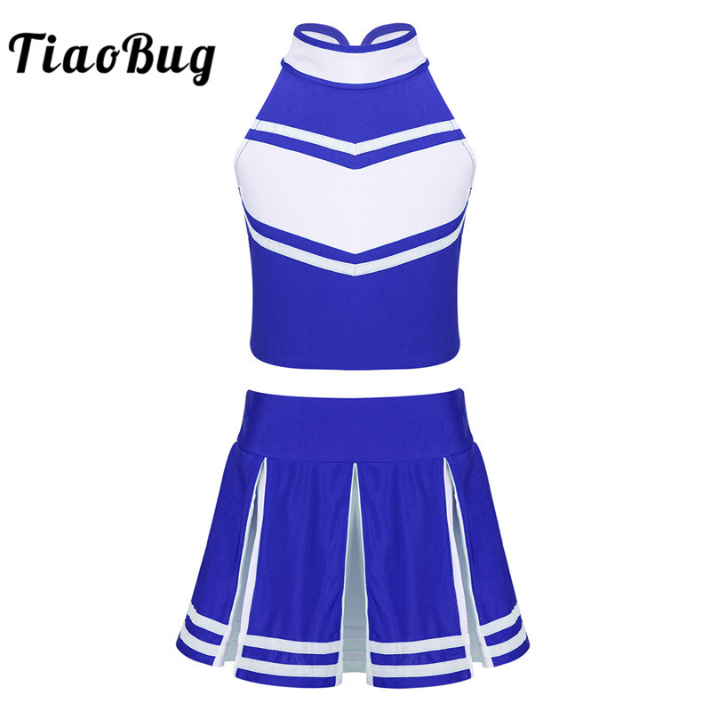 TiaoBug Kids Girls School Cheerleader Uniform Sleeveless Crop Tops Pleated Skirt Set Children Stage Performance Dance Costume
