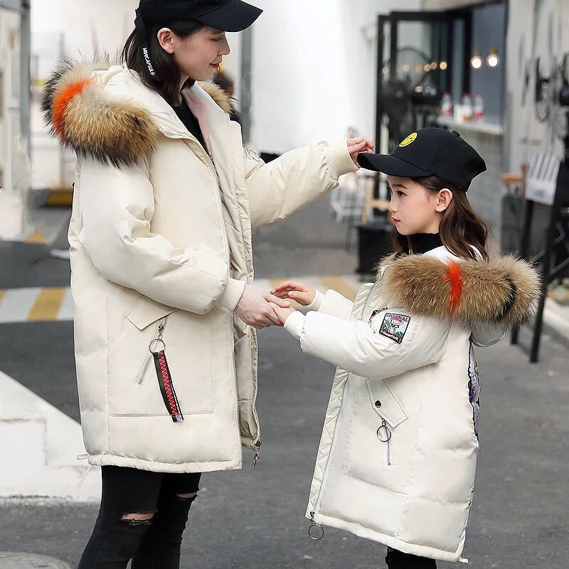 New Pattern Winter Jackets Mother and Daughter Down Jackets Real Fur Hood Loose Coat Thick Warm New Year Costume 2017 new korea winter plus size women coat overcoat wadded coats solid hood jackets thick warm top quality loose coat a0162