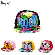 2016 Цветы Распечатать Лето Рок детские Бейсболки Детские Мальчики Девочки Летом Солнце Сеткой Шапки Snapback Hat