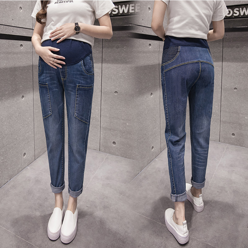 ФОТО Maternity Jeans Straight Pregnancy Pants Plus Size Denim Jeans For Pregnant Women Trousers With Big Pockets Denim Pants