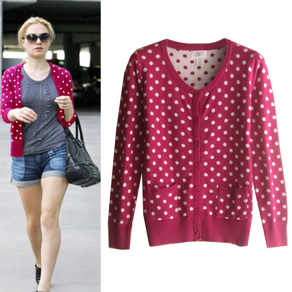 100% cotton women's polka dot casual v neck all match 018hm print ...