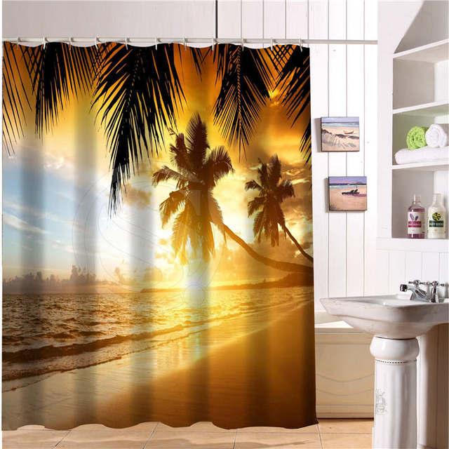 custom bad gordijn strand zomer oceaan sky zee natuur stof moderne douchegordijn badkamer mooie gordijnen bad